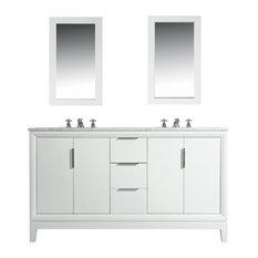"Elizabeth 60"" Double Sink Carrara White Marble Vanity, Pure White"