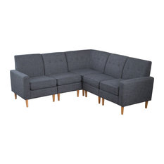 GDFStudio   Samuel Mid Century Modern 5 Piece Fabric Sectional Sofa Set,  Gray