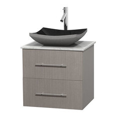 "Centra 24"" Gray Oak Bathroom Vanity Carrera Marble Top No Mirror, Altair Black G"