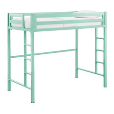 Delacora WE-BDTSQTOL Twin Steel Loft Bed - Mint