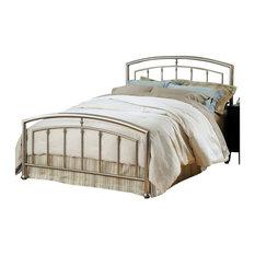 Hillsdale Furniture - Hillsdale Claudia Metal Bed in Matte Nickel, King - Panel Beds