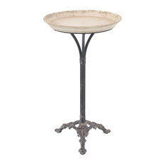 Farmhouse Round Metal And Wood Tray Table