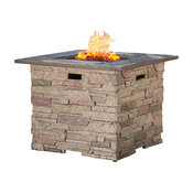 "GDF Studio Heritage 32"" Stone Square Fire Pit with Counter Top, Gray"