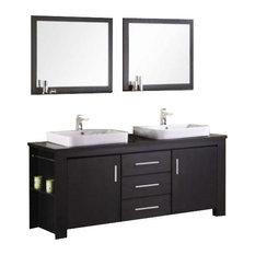 "Washington 72"" Double Sink Vanity Set, Espresso"