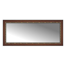 "62""x27"" Custom Framed Mirror, Ornate Brown"