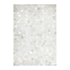 Spark Hexagon Leather Area Rug, Grey and Silver, 160x230 cm