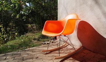 Orange Eames RAR rocking chair replica