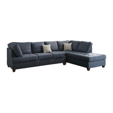 Infini   Modern Contemporary Sectional Sofa With Reversible Chaise, Navy  Blue   Sectional Sofas
