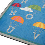 ECR4Kids - P is for Parachute Activity Rug, 6'x9' Rectangular - Fly through the sky from A to Z on the colorful Parachute Alphabet Activity Rug. Children can go from one letter to the next as they practice their ABC's. Constructed using the highest density nylon fiber, edging is tightly bound and double-stitched for maximum strength and durability. The backing features a high-performance Action Bac system for skid-resistance to keep rugs safely in place. A Scotchguard� stain protector is applied and rugs are treated with Force 5 anti-microbial agent to shield against odor, mildew and mold. Printed using a state-of-the-art digital technology at 645 DPI, ECR4Kids rugs feature the richest, most vibrant, and crisp images in the industry.