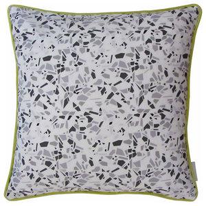 Terrazzo Print Cushion, Black and Grey