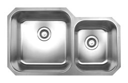 Noahs Collection Brushed Stainless Steel Double Bowl Undermount Sink