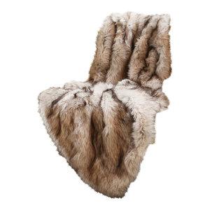 "Luxe Faux Fur Throw Blanket, Champagne Fox, 58""x60"""
