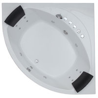 EAGO 5' Rounded Modern Double Seat Corner Whirlpool Bath Tub With Fixtures