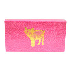 "The Joy of Light Matches Gold Foiled Pig on Pink Embossed Matte 4"" Matchbox"