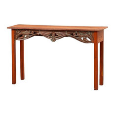 51-inchL Attilio Console Table Hand Crafted Solid Teak Hand Carved One Of A Kind