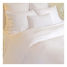 100% Rayon Bamboo Reversible Duvet Covers, White and White, King