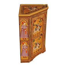 New Delhi Hand Painted Mango Wood Mini Corner Cabinet