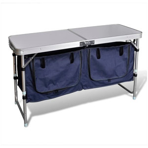 vidaXL Foldable Camping Cupboard and Table With Aluminium Frame