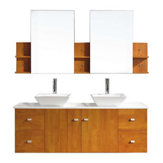 "Clarissa 61"" Double Bathroom Vanity Cabinet Set, Honey Oak"