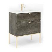 "32"" Modern Bathroom Vanity Set   Aspen Charred Oak Wood Gold handle and legs"