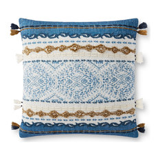 """Blue, Natural 18""""x18"""" Rustic Boho Pillow With Tassels, No Fill"""