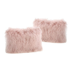 GDF Studio Marybelle Shaggy Lamb Fur Rectangular Pillow, Rose, Set of 2