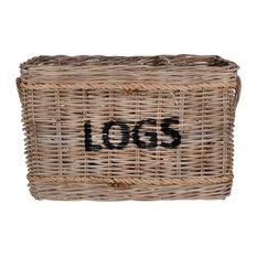 Rattan Log Basket With Rope Handles