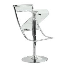 LeisureMod Napoli Transparent Acrylic Bar/Counter Stool Clear