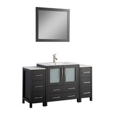 "54"" Single Sink Vanity Set With Ceramic Top, Espresso"