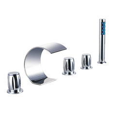 Acel Triple Handel Chrome Waterfall Sink and Bathtub Faucet