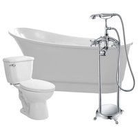 "ANZZI 67"" White Acrylic Soaking Bathtub With Faucet and 1.28 GPF Toilet"