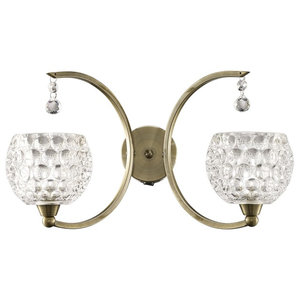 Omni Dimpled Glass Double Wall Light, Bronze