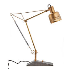 Retro Industrial Brass Desk Table Lamp Height Adjustable Pulley Vintage Style
