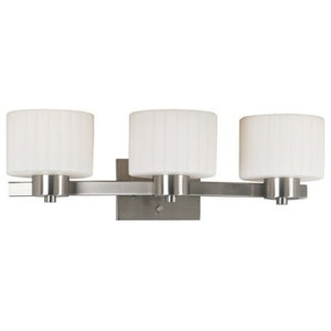 Legacy 3-Light Vanity, Brushed Steel, White Fluted Glass