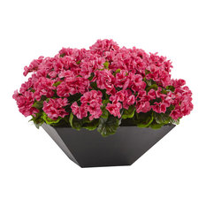 Nearly Natural Geranium UV Resistant Black Planter, Beauty