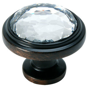 Cosmas 5317ORB-C Oil Rubbed Bronze and Clear Glass Round Cabinet Knob