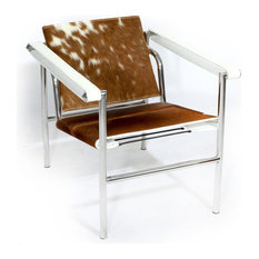 Basculant Sling Chair, Brown/White, Material: Cowhide Leather   Armchairs  And