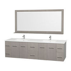 "80"" Double Bathroom Vanity With Man-Made Stone Top, Undermount Sinks, Mirror"