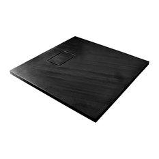 Rockstone Textured Shower Tray, Black, 90x90 cm