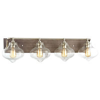 Kelsey 4 Light Vanity, Weathered Zinc With Polished Nickel Accents