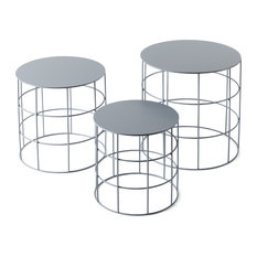 Reton Rounded Coffee Tables Set Of 3 Ash Gray