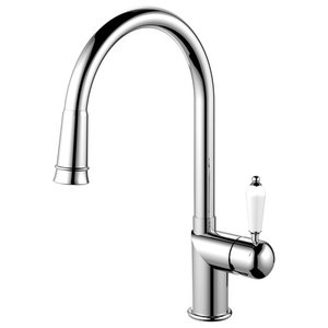 Extendable Classic Kitchen Mixer Tap, High Gloss Stainless Steel