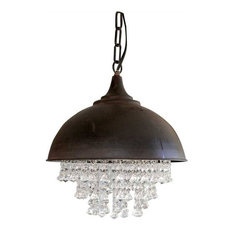 Creative Co Op   Rubbed Bronze Round Chandelier With Hanging Crystals    Chandeliers