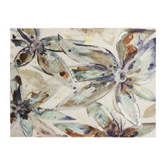 Muted Blue Floral Acrylic Painting, Stretched Canvas Wall Art