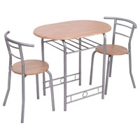 3 Pieces Contemporary Dining Table, 2 Chairs Set, MDF, Steel, Wine Rack, Nature