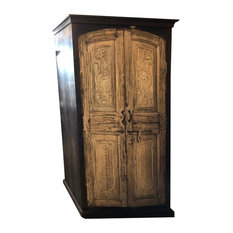 Consigned Reclaimed Antique Indian Solid Wooden Armoire Floral Carving Cabinet