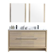 Milan 60-inch Double Vanity Set With Mirrors Oak