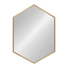 "Kate and Laurel, McNeer Large Hexagon Metal Wall Mirror, 31""x22"", Gold"