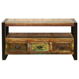 3 Drawer Urban Chic Reclaimed Wood Television Cabinet