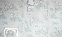 Magnetic Woodlands Wallpaper, Blue/Green/Grey